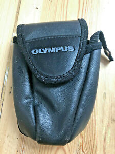 """Vintage Black Leather Olympus Camera Case Bag  5"""" x 3"""" Firm Close and Side Strap"""