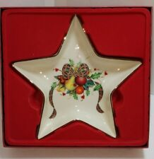 Lenox China Holiday Tartan Star Candy Dish Gold Trim New with Box Wear