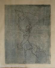 Lithographie monotype signée SAUZEA  - Centaure et écuyère