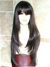 Ladies Extra Long Dark Brown Wig Realistic Fringe Long Straight Fashion Wig