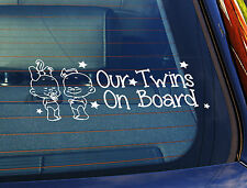 Static Cling Window Car Sign/Decal Our Twins 2 Babys Boy & Girl 100mm x 250mm 18
