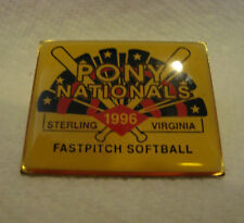 VINTAGE PINBACK ~ FAST PITCH SOFTBALL PONY NATIONALS USA~STERLING VIRGINIA