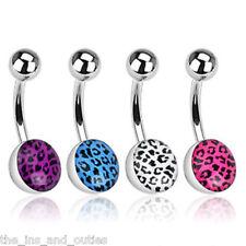 Leopard Skin Print Epoxy Belly Ring Navel Naval White, Blue, Pink, Purple