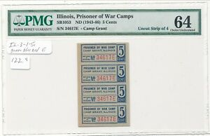 USA WWII POW Camp Chit IL-3-1-5c Camp Grant IL 5 Cent Strip of 4 PMG 64