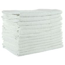 12 Pack White Terry 20x40 5lb Economical/Budget Grade Bath Gym Pool Towel