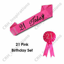 Hot Pink '21 Today' Satin sash + Pink 21st Birthday Rosette NEW