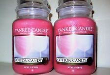 """SET OF 2 Yankee Candle """"COTTON CANDY""""  Large 22 oz ~ WHITE LABEL~ NEW!"""