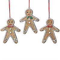 Gisela Graham Resin Gingerbread Man with Bow Tie Holly Decoration