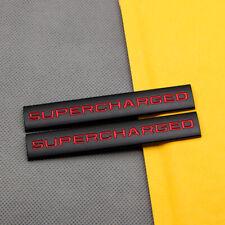 2Pcs Metal Black & Red Coated Supercharged Badge Rear Trunk V6 V8 Sport Emblem