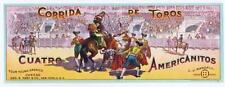 Corrida de Toros, Cuatro, Americanitos, original antique can label