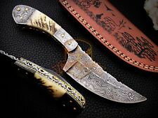 Genuine Handmade Damascus Steel Skinning knife Ram Horn handle with Sheath