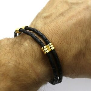 Braided Genuine Leather Bracelet with Magnetic Clasp for Men, Boyfriend Gift
