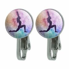 High Lunge Crescent Variation Yoga Pose Novelty Clip-On Stud Earrings
