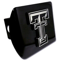 """Texas Tech University Red Raiders NCAA 2"""" Black Metal Tow Hitch Receiver Cover"""