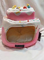 NEW NANDOG PET GEAR PINK Birthday Cake Sprinkles MICRO PLUSH DOG CAT Cave BED