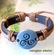 Celtic Trinity Triskele Symbol Leather Surfer Character Hip Bracelet Wristband