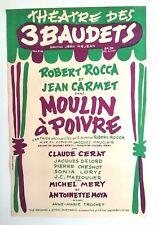 JEAN CARMET- 3 BAUDETS - AFFICHE ORIGINALE DE THÉÂTRE - TRÈS RARE – 1960