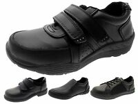 Kids Boys Black Leather School Shoes Lace Up Velcro Slip On Trainers Size UK 8-6