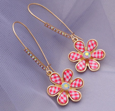 New Crystal Red-Plaid Floral Drop Earrings