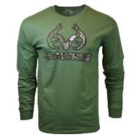 REALTREE Mens Long Sleeve M L XL T Shirt Deer Camo Logo Hunting Buckhorn NEW