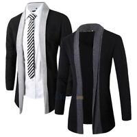 Stylish Men Knitted Cardigan Jacket Slim Long Sleeve Casual Sweater Coat #3YE