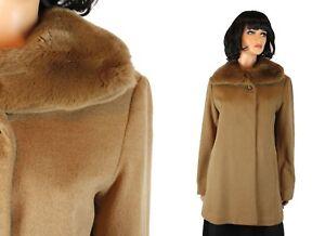 Fur Collar Coat Sz 8 M Hilary Radley Light Brown Tan Wool Blend Rabbit Jacket