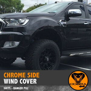 CHROME SIDE WIND COVER FITS FORD RANGER VENT PX PX2 2015-18 ACCESSORIES Everest