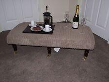 xxl foot stool upholstered top coffee table footstool dark turned castor legs
