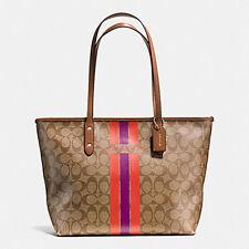 NWT $295 Coach Varsity Stripe Zip Tote Shoulder Bag Satchel Handbag Purse NEW