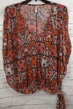 Sweet Pea Nylon Top Large Multi Color Print Sheer Tie Hip