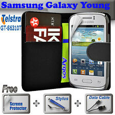 Black Wallet Money Card Leather Case Telstra Samsung Galaxy Young S&stylus&cabl