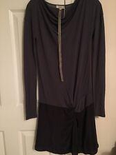NWT LOIZA By Patrizia Pepe Blue Black Long Sleeve Drop Waist Drape Dress Size 0