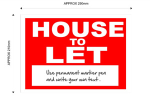 House To Let Sign - with space for your own text.