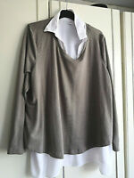C&A CANDA WOMENS BROWN TOP WITH SEWN ON WHITE SHIRT PLUS SIZE 26 PIT TO PIT 26