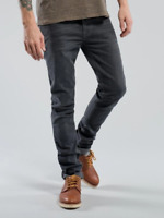 Nudie Herren Slim Skinny Fit Stretch Jeans Hose Grau | Tape Ted Grey Onyx