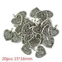 h 20Pcs Tibetan Silver Filigree Heart Charms Pendants DIY Jewelry Making 15*16mm
