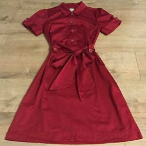Joules Gene Womens Pillar Red Knee Length Short Sleeved A-Line Dress Size UK 12