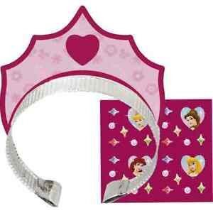 Disney Fanciful Princess Dress Up Birthday Party Favor Tiaras & Stickers Crowns