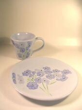 Cheery Pottery Barn Spring Periwinkle Blue Flower Floral Plate & Mug/Cup Italy