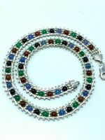 Vintage Milor Italy Sterling Silver 925 Multi Color Genuine Gemstones Necklace