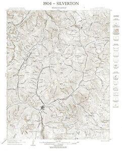 """1904 USGS Silverton CO. Topo~Mining~24""""x18"""""""