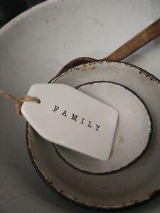 "'Family' Farmhouse Ceramic Hang Tag Sign Black White 5"" Enamel Look"