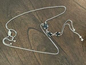David Yurman Chatelaine Linear Onyx Diamonds Necklace Sterling Silver New $1600