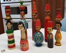Vintage Handmade Arabe Moyen-Orientale en bois Poupée Famille Peg doll