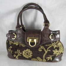 Tapestry Carpet Bag Purse Handbag Faux Alligator Brown Vinyl Buckles Small