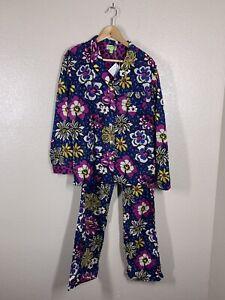 Vera Bradley Medium M African Violet Pajama Set Shirt Pants Floral Leopard NEW