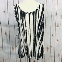 Kenneth Cole Black Off White Vertical Striped Sleeveless Tank Top Women's Size L
