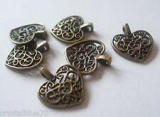 50 x Heart Charms Style Filigree Antique Bronze Tone 17x15mm Crafts Pendants
