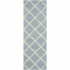 2' 3 x 7' Moraccan Hand-Tufted Blue/Ivory Wool Runner Rug