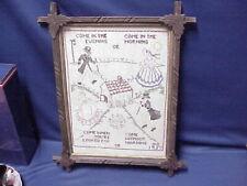 Primitive WOOD Leaves Framed Linen Cross Stitch Sampler 1937 Signed JMS Glass